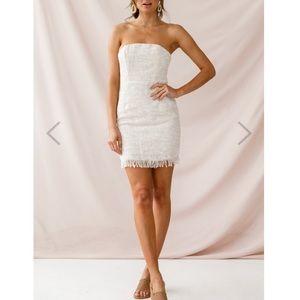 Edith Strapless Tweed Mini Dress Beige